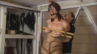 Extreme bondage and hogtie for naked girl with big boobs