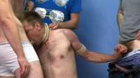 Bailey5-l - Tied and made to shimmy out of his board shorts, nipples clamped