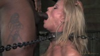 Stunning Simone Sonay chained down, hooded, multiple orgasms while sucking, brutal deepthroat!