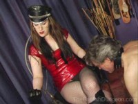 This beautiful and horny brunette abuses a man who is bound and hooded