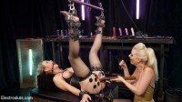 Hot MILF Simone Sonay submits to Latex Electo Dominatrix Cherry Torn