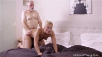 After getting her pussy licked it is only fair she suck on this old guy's cock!