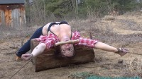 Staked Out Spread Eagle Back Breacker In The Cold For The Firewood Thief