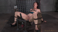 Pretty redheaded MILF Cici Rhodes throatboarded by 2 dicks while restrained on a fucking machine!