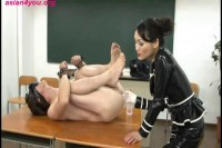 Japan  mistress Kannatsuki Ramyi extremal bondage torture of slave man.