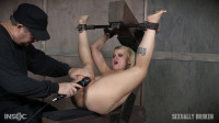 Big titted whore is metal bound and fucked until she cums over and over by huge dicks!