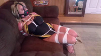 Super bondage and hogtie for hot blonde with big boobs