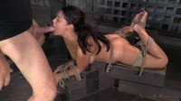 English rose Ava Dalush bound down on fucking machine, brutal drooling deepthroat !