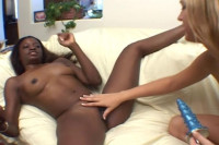 Interracial lesbian kissing scene