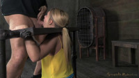 Beautiful blonde AJ Applegate stuck in stocks, drilled down with brutal deepthroat (2014)