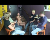 Late gangbang at a bar