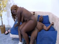 Big chocolate chick is giving dude sex of his life