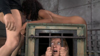 Deepthroat expert Lotus Lain bent over a box...