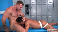 Hard anal at locker room