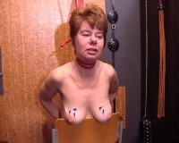 Extreme - Redhead Mature Gets Painful Tits Torture with Needles