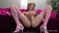 Ts Delia Delions — Leggy Blonde Tranny Cums On Her Tummy!