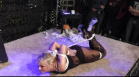 Young Blonde in hogtie on the floor