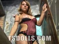 Sexy Blonde Tgirl Struts Her Stuff