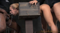 Blue eyed blonde Alina West bolted into a wooden box and roughly fucked by BBC, drooling deepthroat!
