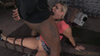 Lush Angel Allwood bound down to a fucking machine and throatboarded by 2 hard cocks!