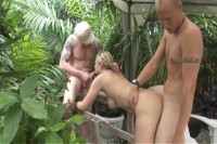 Sex Starved Milf Takes On Two Boners