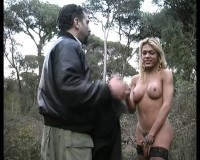 Blonde gets a cock outdoors