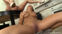 Two Hot Girls Lesbian In The Kitchen