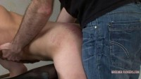 Tied to spanking bench, sore arse exposed, taught to suck cock
