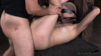 Pale beauty Aria Alexander blindfolded and tag team fucked by hard cock while strictly restrained!