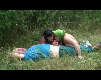 Great outdoor threesome fuck