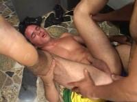 Bareback Sports gay male face cum!
