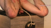 Tied arse up on a block of wood, breath control, bare-handed spanking
