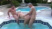 Slutty blonde fucked in hot outdoor threesome