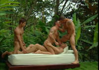 Tropical Gangbang With Muscle Men