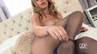 Bedroom Pleasures: Blonde Glamour Babe Tears Nylon Pantyhose Apart