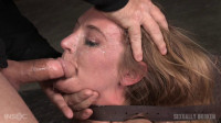 Stunningly sexy slut blindfolded and throat trained by 3 cocks