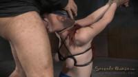 Redheaded sybian slut Violet Monroe does drooling deepthroat on BBC bound in brutal strappado!