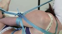 Restricted Senses - Blue Lingerie Hooded Hogtie