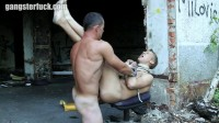 Tied blond boy gets heavily fucked