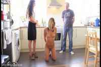 Leashed and collared UK slut is doing things on command
