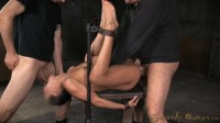 Bound on her back, legs up, and neck hanging off the bench this super slut is about to get dicked dow