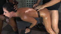 Fit Milf India Summer shackled down and used hard by two cocks
