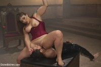 Gorgeous big bicep dominatrix wrestles, smothers & dominates slaveboy!