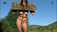 Extreme bondage, torture, suspension and hogtie for a young brunette