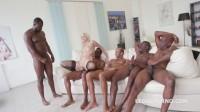 Five Black Busters Destroy White Blond Slut In DP Gangbang