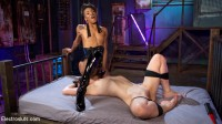Beautiful slut shocked and anally strap-on fucked!