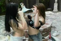 Two hot lesbians have harcore sex outside