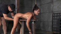 Busty brunette Ava Dalush chained and shackled in strict bondage, brutal deepthroat!