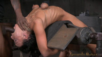 Flexible London River bound to a sybian in a brutal backarch and throatboarded by hard cock!