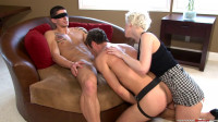 Trio bisexual strap-on and orgasm